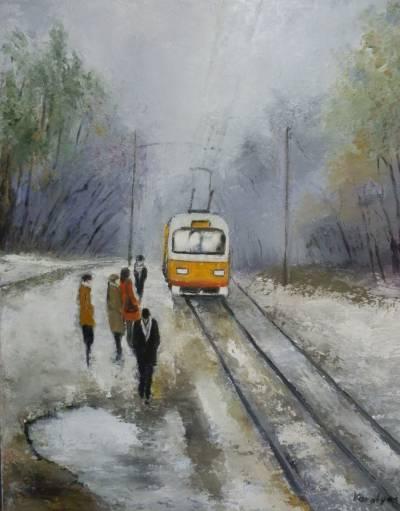 Picturi de iarna Statie de tramvai