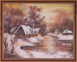 Picturi de toamna Amurg rosu de iarna (c