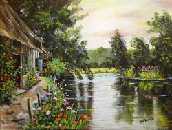 Picturi de vara casuta de langa  lac cu