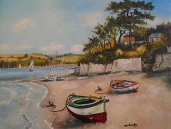 Picturi de vara Peisaj cu barci la mal .