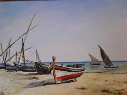 Picturi de vara peisaj cu barci la tarm