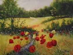 Picturi de vara Peisaj de vara cu flutur