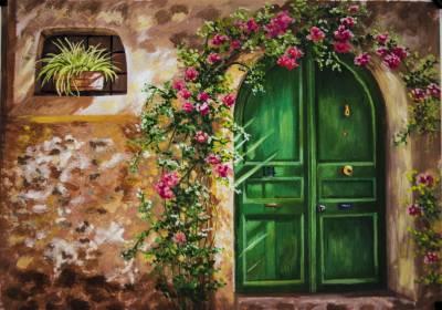 Picturi de vara Ușa veche la casa bunic