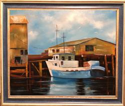 Picturi maritime navale Barca langa docu