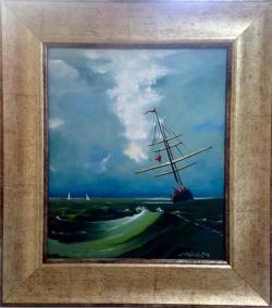 Picturi maritime navale Corabie in valur