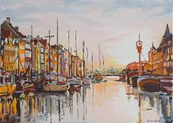Picturi maritime navale Rasarit pe canal
