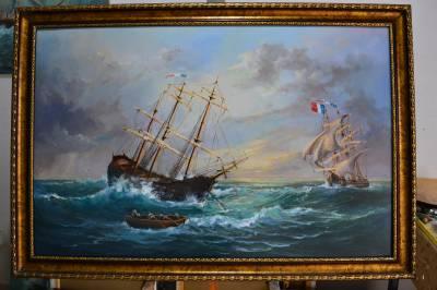 Picturi maritime navale Velier la ancora