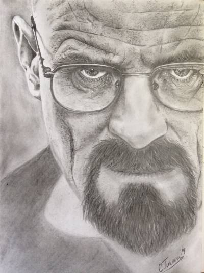 Portret realizat in creion si carbune.