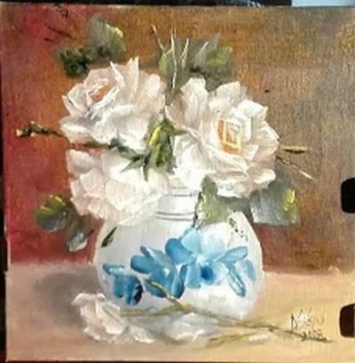 Poza 3 trandafiri in vas pictat