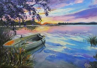 Poza Apus pe lac