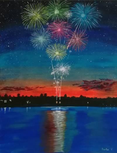 Poza Artificii în miez de noapte