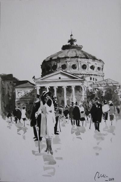Poza Ateneul , desen in tus pe hartie