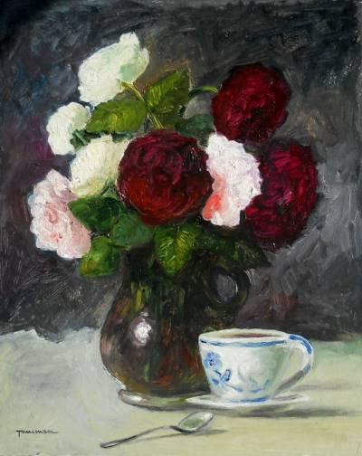Poza cafea si trandafiri