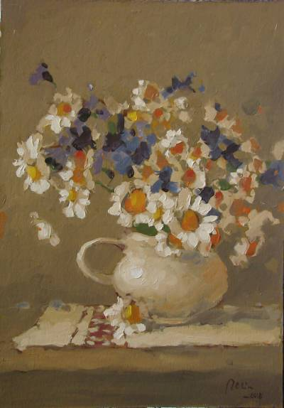 Poza Cana alba cu flori de camp, ulei pe