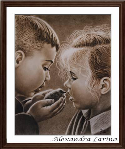 Poza Doi copii cu un puisor in mîni