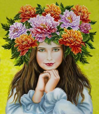 Poza Fata cu coronița de bujori pe cap