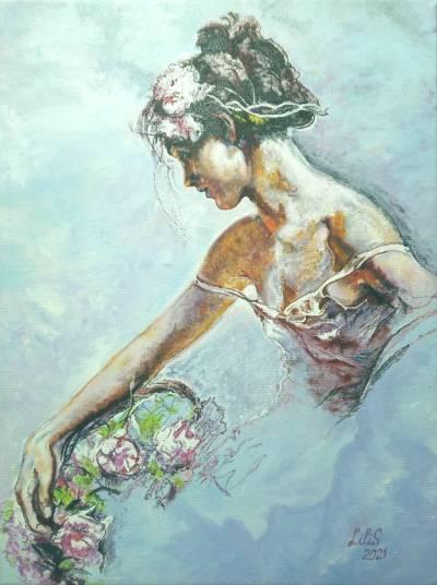Poza Fata cu flori
