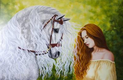 Poza Fata roșcată cu calul alb
