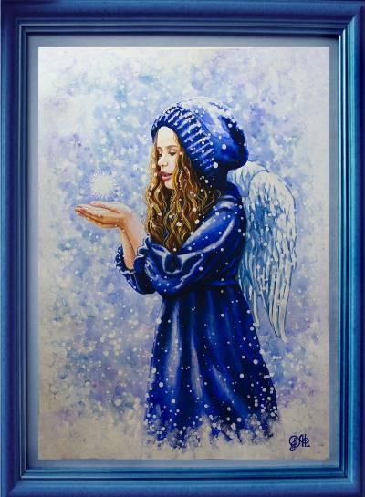 Poza Fetita-ingeras in haine albastre