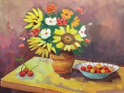 Poza Floarea soarelui cu cirese