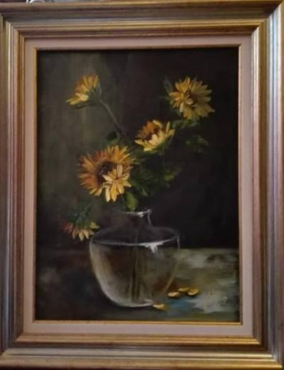 Poza Floarea soarelui in clarobscur