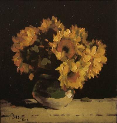 Poza Floarea soarelui, ulei carton