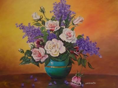 Poza Flori de liliac si trandafiri .....