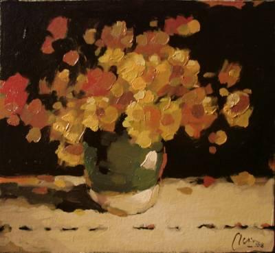 Poza Flori galbene de camp, ulei pe cart