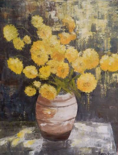 Poza Flori galbene in vas de lut