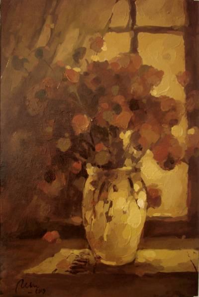 Poza Flori in geam1,ulei carton