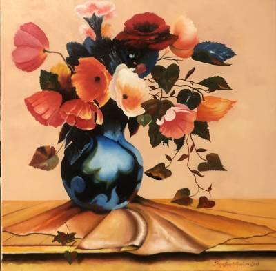 Poza Flori in vas albastru