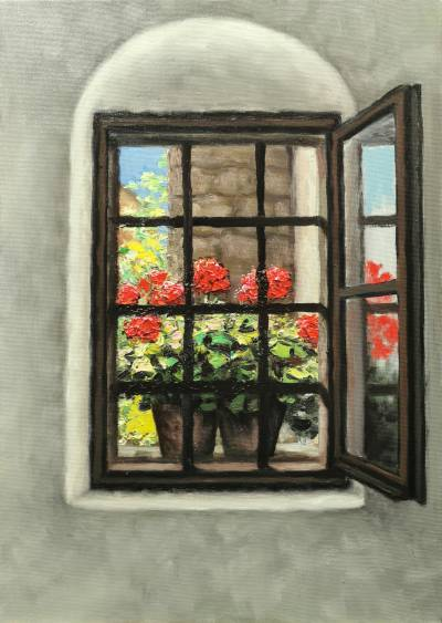 Poza Flori rosii in fereastra 2021