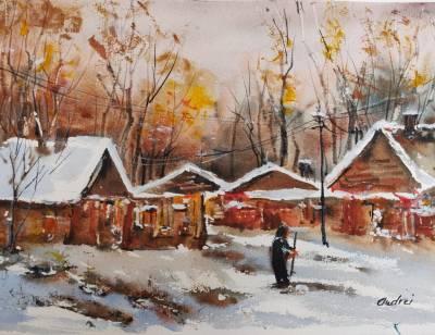 Poza iarna pe ulita - bunicuta