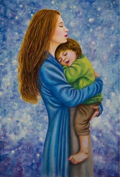 Poza Mama cu copil pe fonul cosmosului