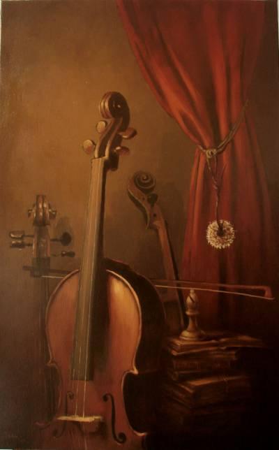 Poza Narura statica cu violoncel
