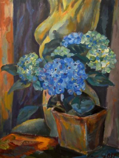 Poza Nude with blue flowers
