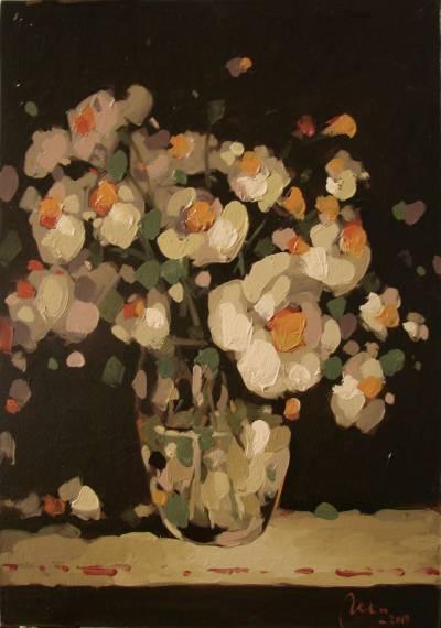 Poza Pahar cu flori albe, ulei pe carton