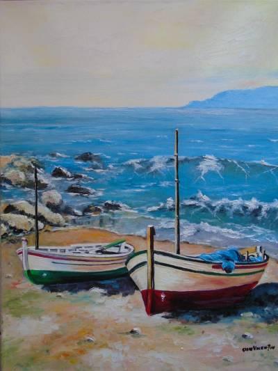 Poza Peisaj cu barci la tarm 2 .... 1