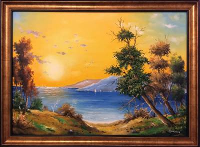 Poza Peisaj cu cer pe galben