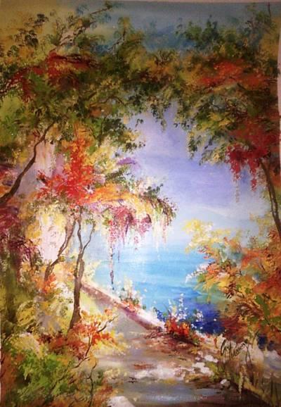 Poza peisaj marin cu flori