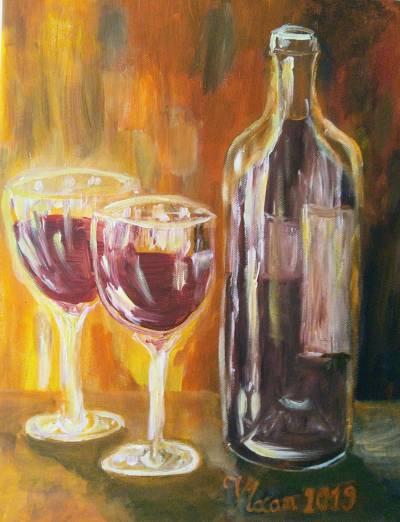 Poza sticla de vin cu pahare