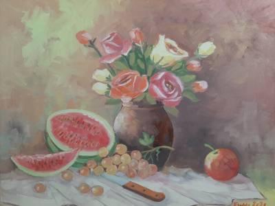 Poza trandafir cu pepene rosu