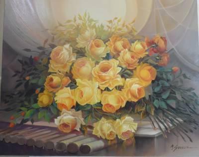 Poza trandafiri galbeni in lumina astral