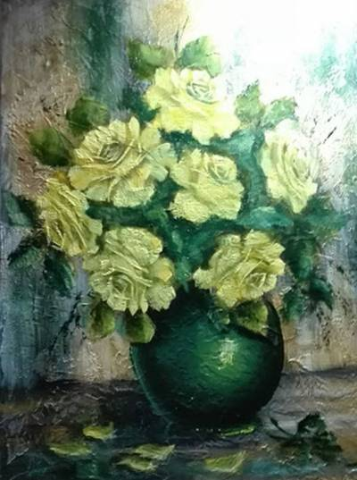 Poza Trandafiri in vas verde