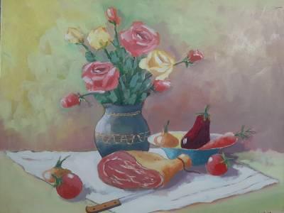 Poza trandafiri si jambon