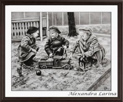 Poza Trei copii se joaca in nisip