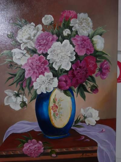 Poza Un buchet de bujori in vaza