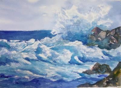 Poza valuri la malul marii