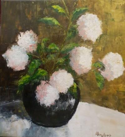 Poza Vas cu hortensii roz