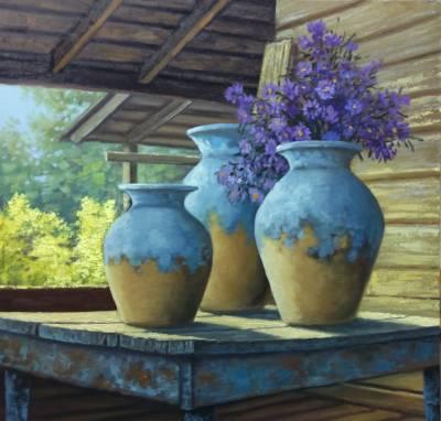 Poza Vase de lut si flori albastre, 2018